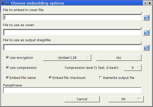 Dialog window for the Embed operation