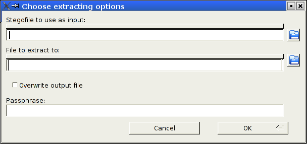 Dialog window for the Extract operation